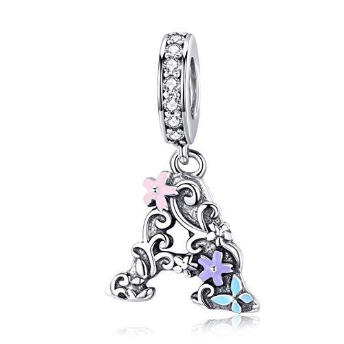Ciondolo a forma di lettera A, compatibile con braccialetti Pandora, in argento Sterling 925, con motivo floreale vintage