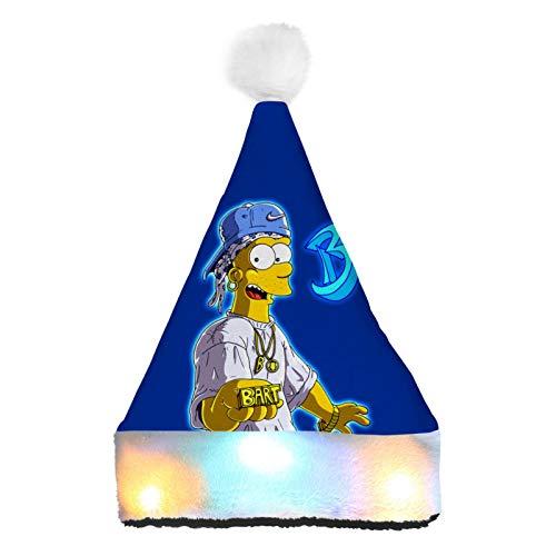 WeiTao Bar-t Simp-Son Hip Hop Sombreros de Pap Noel con luces LED de color disfraz de Navidad clsico sombrero para nios y adultos