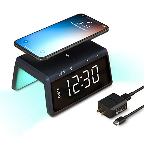 Pointuch Digital Alarm Clock with Wireless Charger, Bedroom Colorful Night Light, Dual Alarm LED Display, 12/24H, 4 Brightness, USB Charging for iPhone Samsung Airpords(Black)
