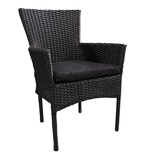 Mojawo mooie rotan stoel stapelbaar rieten tuinstoel zwart stapelstoel met stoelkussen