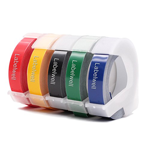 5x Labelwell 9mm x 3m Sostituzione Nastro per Etichette Compatibile per Dymo 3D Autoadesive a Rilievo in Vinile, per Dymo Organizer Xpress Junior Omega S0717930, Bianco su Nero/Blu/Rosso/Giallo/Verde