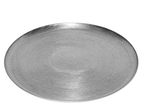 LaLe Living - Vassoio orientale Tepsi rotondo in ferro in argento, Ø 37 cm, da utilizzare come vassoio da portata o vassoio decorativo per candele, vasi o corona dell'Avvento