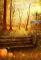 Qinunipoto 背景布 ハロウィン happy halloween 写真撮影用 写真の背景 ウッズ ベンチ かぼちゃ 街灯 背景幕 撮影用 ハロウィン様式 写真背景 装飾用 万聖節カボチャ cosplay背景 撮影道具 ビニール 2.5x3m