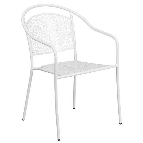 Flash Furniture Commercial Grade White Indoor-Outdoor Steel Patio Arm Chair with Round Back