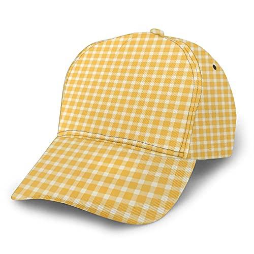 Jack16 Gorra de béisbol ajustable para hombre y mujer, sombrero para papá, leñador a cuadros en color amarillo, ajuste para cola de caballo juvenil, damas, tenis, pelota de golf, gorra ajustad