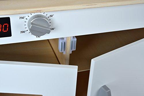 Eichhorn 100002494 - Spielküche aus Holz, Herd mit leuchtenden Herdplatten, Spüle, Backofen und Dunstabzug, 36x69x99cm, Kiefernholz, Birkenholz - 10