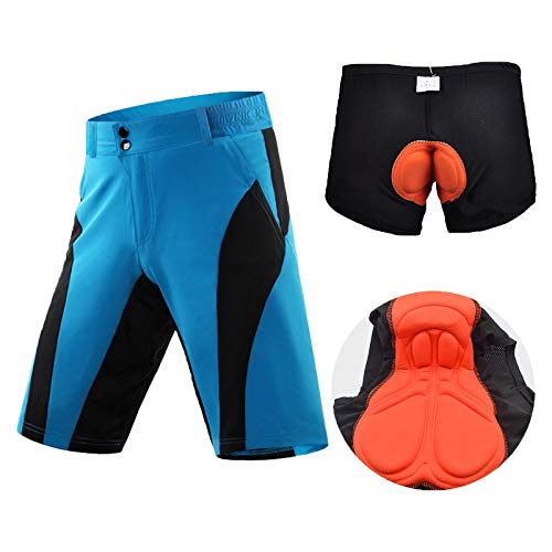 YQA Shorts-MTB para Hombre Reflexivo Shorts Impermeables y Transpirables, Pantalones Cortos de Ropa Interior de Ciclismo Cojín de Absorción de Impactos, with Bolsillo con Cremallera,Azul,Small