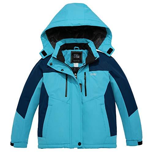 ZSHOW Girls' Winter Snow Coat Waterproof Hooded Thick Fleece Rain Jacket(Blue,14/16)