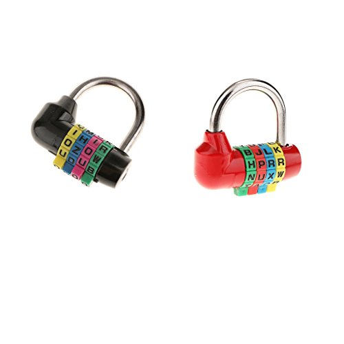 2Pack 4-stelliges Buchstabe Zahlenschloss Vorhängeschloss Klein für Gepäck, Schule, koffer, Tasche