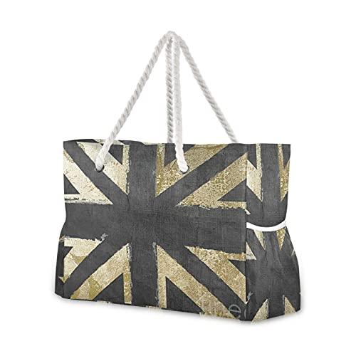 Borsa a tracolla con bandiera del Regno Unito, borsa da spiaggia per piscina, palestra, spiaggia, viaggi, nuoto, escursionismo, picnic, tasche esterne