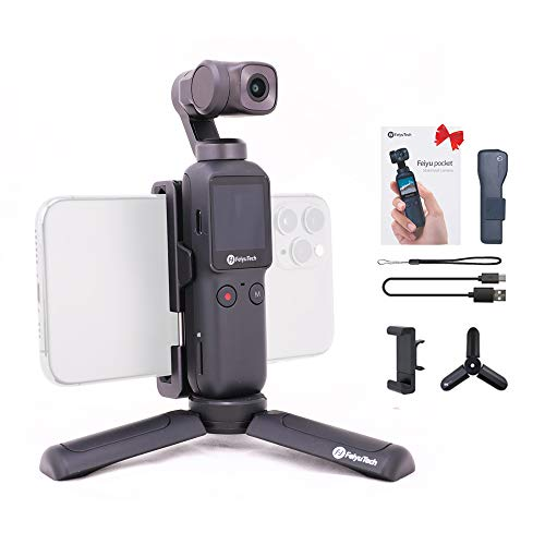 Feiyupocket 4K Pocket Camera Compact Gimbal 3 axis Vlogging Stabilizer-FeiyuTech for YouTube Video Record,Face Object Tracking,Android/iOS app with Tripod+PhoneHolder