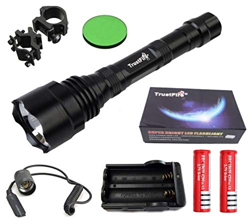 Linterna Trustfire TR-T1-1 Led CREE XML-T6-1 Modo, 1600 lm 2 baterias - 400 metros, especial caza, monterías, vigilancia Kit Nº3 (Kit completo de linterna)