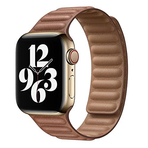Hspcam Correa de cuero para Apple Watch Band 44mm 40mm 38mm 42mm watchabnd original pulsera de bucle magnético iWatch Seires 3 5 4 6 SE (38mm o 40mm, marrón)