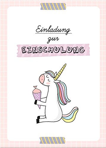 dabelino Einladung Einschulung: 6X Einladungskarten + Umschläge zur Einschulung: Einhorn/ Schultüte für Mädchen (rosa)