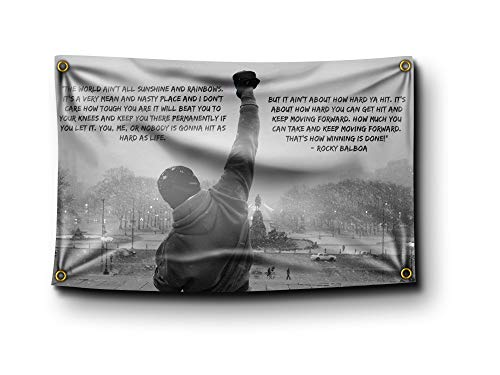 Banger - Rocky Balboa Sunshine and Rainbows Quote Motivational Inspirational Office Gym Wall Decor 3x5 Feet Flag Banner