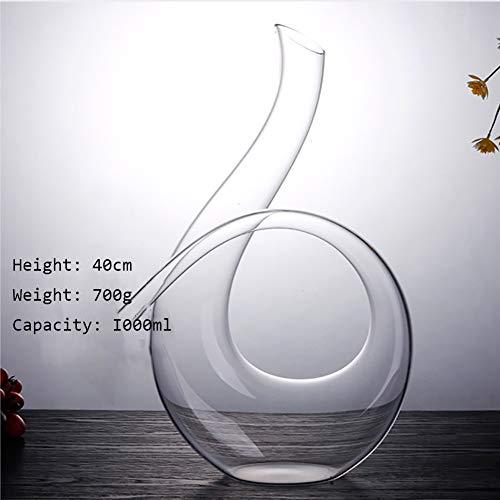 LIGHT Twisted Horn Decanter per vino in cristallo senza piombo Vino aeratore che può contenere Twisted Horn Decanter, 1000 ml