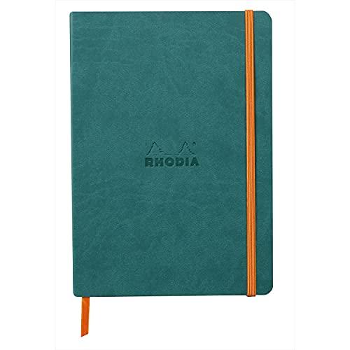 Rhodia 117442C – Cuaderno flexible A5 (14,8 x 21 cm, 160 páginas, papel Clairefontaine marfil 90 g/m2, cierre elástico, cobertura de piel sintética – rodiarama
