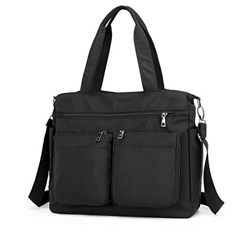Bandolera para mujer, bolso de nailon con múltiples bolsillos, bolsas de hombro grandes para viajes, trabajo y uso diario., color Negro, talla Large