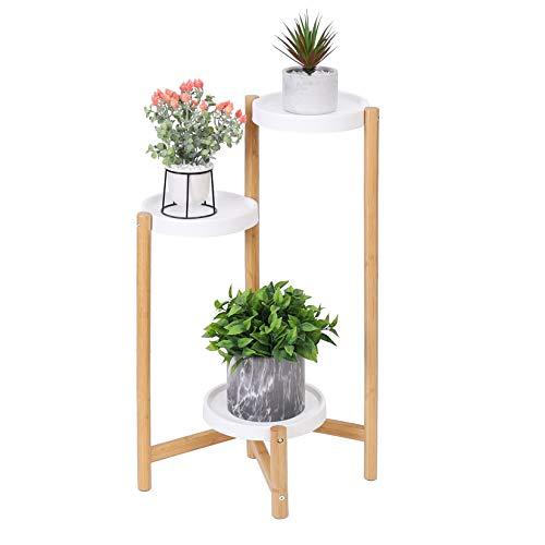 unho Estanterias para Macetas de Bambú, Soporte Macetas con 3 Niveles Escalera para Macetas Alto Bajo Soporte Plantas Interior Estanterias Decorativas Plantas Exterior Salón Balcón Oficina - S