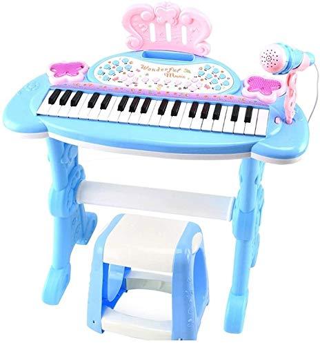 XINRUIBO Piano de Juguete para Principiantes para niños, tableros de Pianos para niños Luces de Colores y Taburete con micrófono de Trabajo Real para niños Piano Infantil