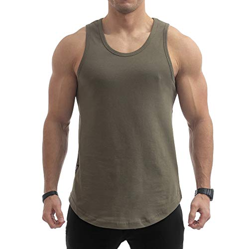 Sixlab Round Oversize Tank Top Herren Muscle Shirt Achselshirt Gym Fitness (L, Olive)