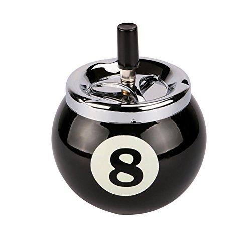 vorcool billar bola Cenicero Metal Con Número 8para el interior y exterior (Negro)