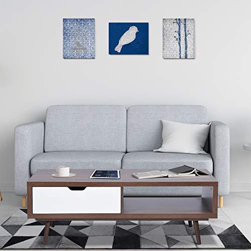 FurnitureR Simplicidad Mesa de Centro con 1 cajón y Estante de Almacenamiento para Sala de Estar, Soporte de TV, Mesa de sofá Rectangular, Mesa Funcional sólida y Elegante, fácil Montaje Walnut