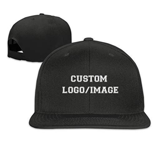 Custom Snapback Cap with Text/Logo/Picture, Adjustable Personalized Design Hip Hop Black Baseball Hats for Women Men