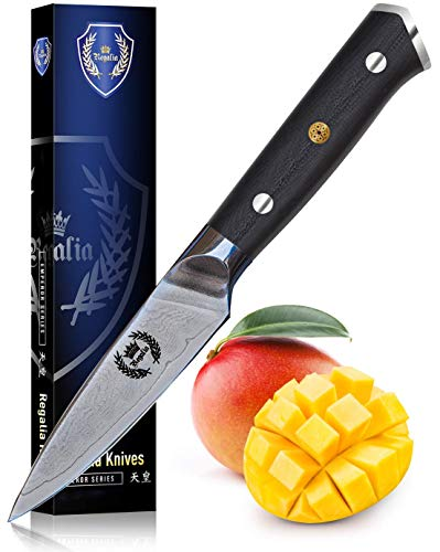 Paring Knife 3.5 inch: Best Quality Japanese AUS10 Super Steel 67 Layer High Carbon Stainless Damascus Steel Peeling Utility knives by Regalia.