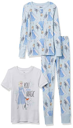 Spotted Zebra Disney Star Wars Marvel Frozen Princess Snug-Fit Cotton Pajamas Sleepwear Sets Conjunto de Pijama, 3 Piezas Magic, 4-5 años