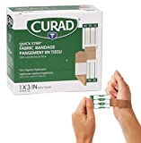 Curad Quick Strip Fabric Adhesive Bandages with Easy Application Wrapper, Bandage Size is 1 x 3 inches, 100 Count