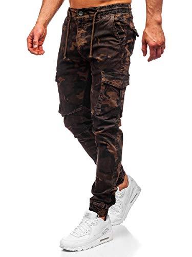 BOLF Herren Jogginghose Cargohose Sporthose Trainingshose Jogger Sweathose Fitnesshose Jogpants Fußballhose Sweatpants Beinabschluss Pants Baumwolle Slim Fit CATENVIN CT6017 Braun S [6F6]