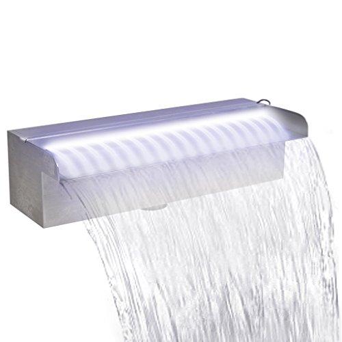 Festnight Edelstahl Rechteckige Wasserfall Wasserfontaene Pool-Fontaene mit LED Beleuchtung 30 cm
