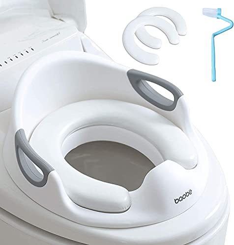 Asiento de inodoro para niños Reductor de WC para Bebé Tapa WC con reposabrazos, redondos y ovalados (blanco)