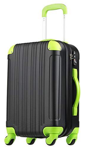 (レジェンドウォーカー) LEGEND WALKER 超軽量 Wファスナー容量アップ拡張機能付 スーツケース (17色4サイズ) おしゃれでかわいい キャリーケース スムーズな移動が可能な4輪タイプ (Mサイズ(5〜7泊/61(拡張時72)L), ブラック