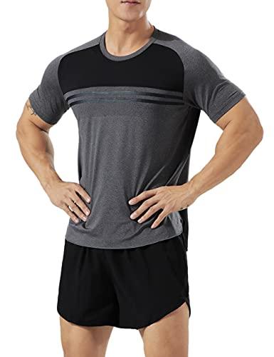 Muscle Alive Uomo Sportivo Bodybuilding Magliette Fitness in Esecuzione Running Tops MT4-Gray XL