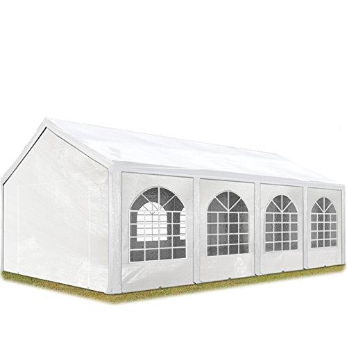 TOOLPORT Hochwertiges Partyzelt 4x8 m Pavillon Zelt ca. 240g/m² PE Plane Gartenzelt Festzelt Wasserdicht weiß