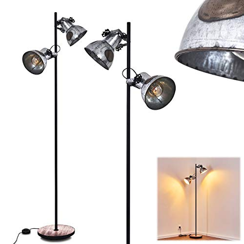 Floor lamp Holga in Black, Rust Grey and Wood Like Metal, Retro-Industrial Light with Switch on The Cable, Fitting in a Vintage Living Room, 162 cm, for 2 x E27 Bulbs max. 40 Watt