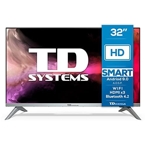 TD Systems K32DLJ12HS - Televisores Smart TV 32 Pulgadas HD Android 9.0 y HBBTV, 800 PCI Hz, 3X HDMI, 2X USB. DVB-T2/C/S2, Modo Hotel. Televisiones