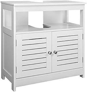 eSituro Mueble Bajo Lavabo Armario de Suelo para Baño Mueble de Baño Organizador 2 Puertas MDF Blanco 60x30x60cm SBP0023