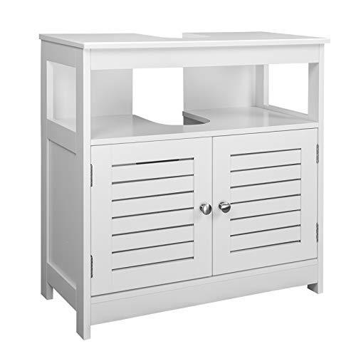 eSituro Mueble Bajo Lavabo Armario de Suelo para Baño Mueble de Baño Organizador 2 Puertas, MDF Blanco 60x30x60cm SBP0023