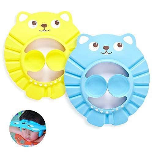 KtdaysB Doccia cap per bambino, 2 pz tappi per shampoo impermeabili per bambini regolabili, protezione per bambini Cuffia per paraorecchie per la cura del bambino-Giallo, blu