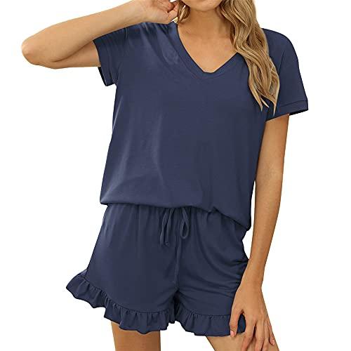 PRJN Summer Pure Color Ladies Pijamas Conjunto de 2 Piezas Pijamas Pijamas Conjunto de Dormir Conjunto de señoras Conjunto de Pijamas de Manga Corta de Color Puro para Mujer Pijamas Casuales