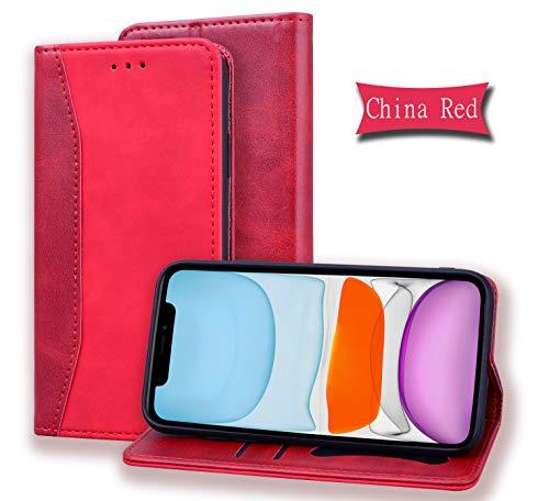 LODROC [iPhone XS Max] Hülle, TPU Lederhülle Magnetische Schutzhülle [Kartenfach] [Standfunktion], Stoßfeste Tasche Kompatibel für Apple iPhone XS Max - LOHF0200084 Rot