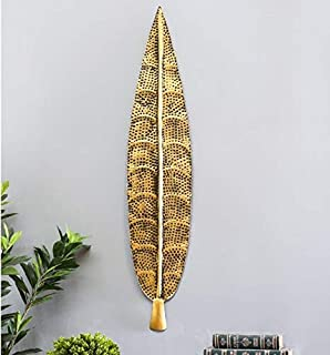 Metal Wall Iron ham Leaf Small in Golden Decorative Wall Art by Accurate art (7X1X32in)
