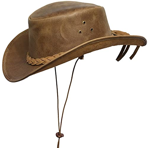 BRANDSLOCK Cowboy Hat Leather Outback Sun Hat with...