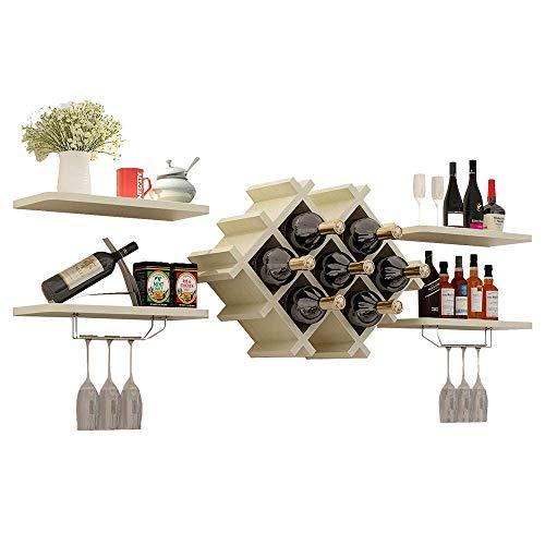 Estante de vino montado en la pared, soporte de metal para copas de vino, estante de almacenamiento, sala de estar, enfriador de vino de madera maciza, 5 colores, 51 * 14 pulgadas (color: arce blanco)