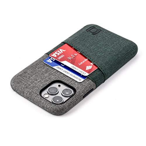 Dockem Luxe M2 Handyhülle mit Kartenfach für iPhone 11 Pro; Schlanke Wallet Handytasche mit integrierter Metallplatte für Magnet-Halterung - M-Serie (Dunkelgrün & Grau)