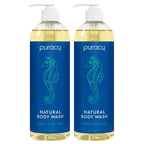 Puracy Natural Body Wash for Men and Women, Citrus & Sea Salt Skin Softening Bath & Shower Gel with...