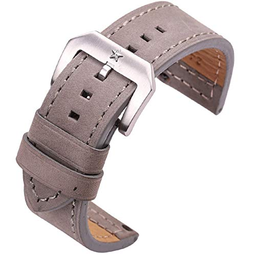ZZDH Correa Reloj Cuero Correa de 24mm Black Brown Grey Blue Ladies Strap Strap Watch Accesorios Hebilla de Estrella de Cinco Puntas (Band Color : C, Band Width : 24mm)